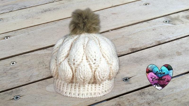 Bonnet feuilles en relief magnifique 1/2 / Beanie (hat) leaf stitch (english subtitles)