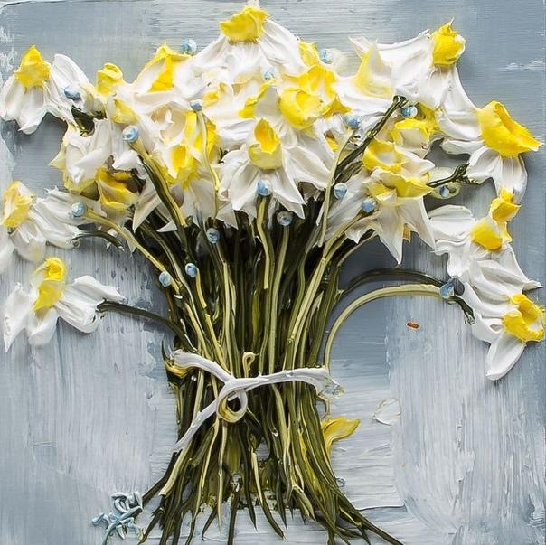 Джастин Геффри не просто пишет свои картины, а «вылепляет» их из акриловых красок.