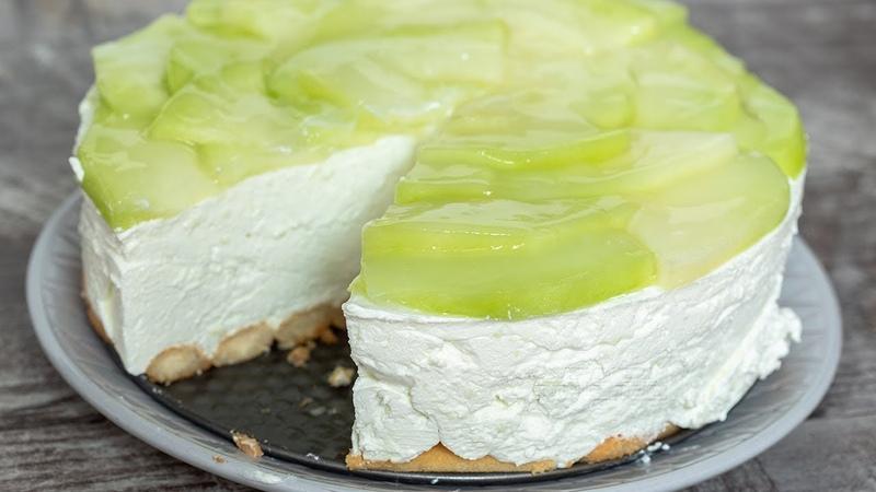 Сливочный торт без выпечки с печеньем Савоярди и дыней / Bebina kuhinja - Osvežavajuća torta sa dinjama i bebi piškotama - Domaći video recept