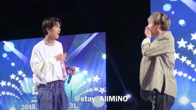 Mino is playful and yoon really plays along with him i just can't get enough of this moment minyoon -