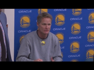 At halftime, steve kerr spoke with the warriors on nbaonabc