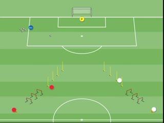 Футбольные упражнения на скорость,  координацию и завершение атаки