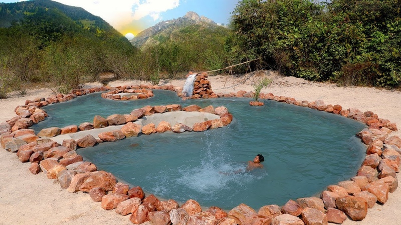 Build The Biggest Swimming Pool By Mountain Stone With Natural Waterfall