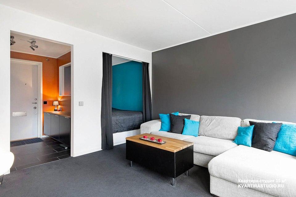Цветовое зонирование квартиры-студии 35 м в Стокгольме / Швеция - http://kvartirastudio.