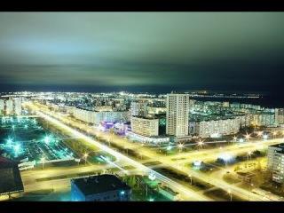 Ночной зимний полёт над городом набережные челны