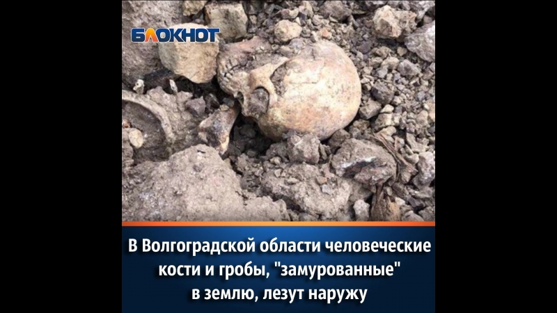 В Волгоградской области человеческие кости и гробы, «замурованные» в землю, лезут наружу