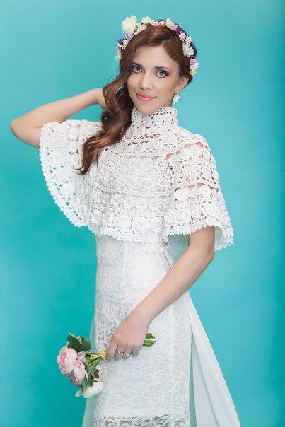 Свадебное болеро Белые розы (4 фото) - картинка