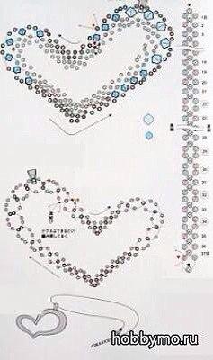 Сердце с бисера схемы