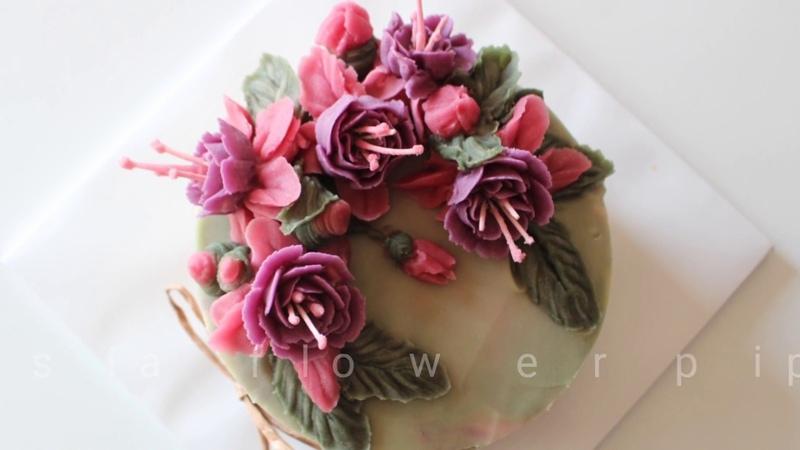 Бобовая паста Широан / Сироан. Цветы из бобовой пасты. fuchsia flower piping techniques