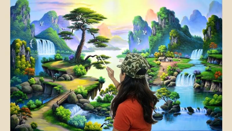 Vẽ tranh tường 3d, (tranh sơn thủy). Nhận thi công và dạy vẽ tranh liên hệ: 0969033288