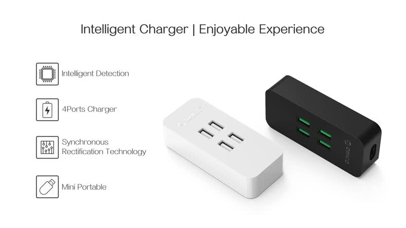 ORICO DCV-4U 4 Ports USB Charger Mini Smart charger 5V2.4A *4 Max Output 20W Desktop Charger US/EU/UK Plug Available