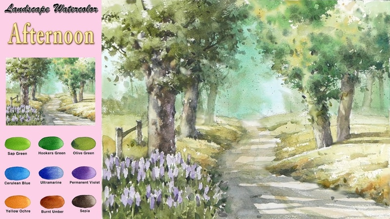 Landscape Watercolor - Afternoon (sketch coloring, Arches rough)NAMIL ART
