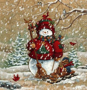 Новорічний сніговик - листівка