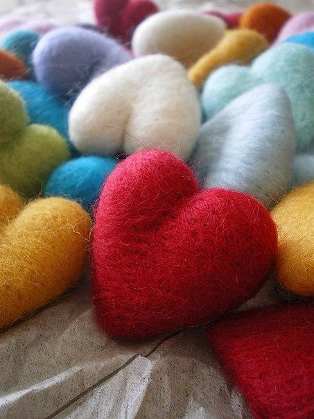 Войлочные сердца (6 фото) - картинка