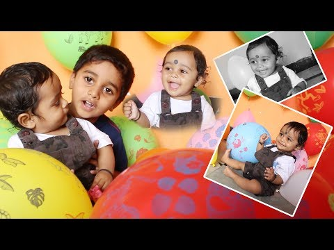 Minnu Playing With Cute Little Brother Jai | Kids Playing With Color Balloons | My Kids Rhymes