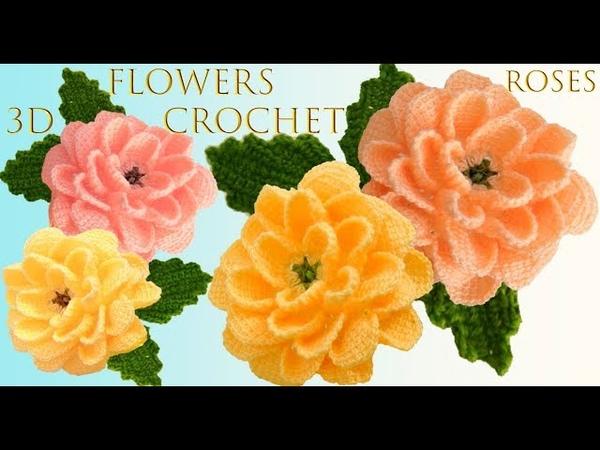 Como hacer rosas a Crochet con tallos hojas punto 3D tejido a ganchillo fácil tallermanualperu