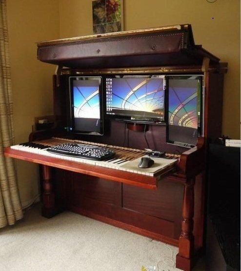 Рабочий стол из старого пианино #DIY_Идеи