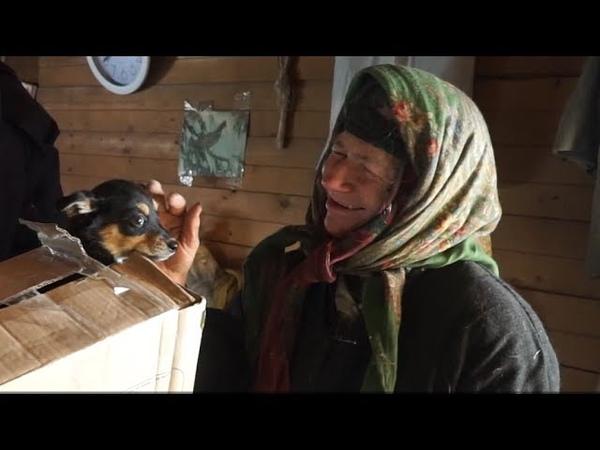 К отшельнице на вертолёте Агафье Лыковой доставили продукты и подарили щенка
