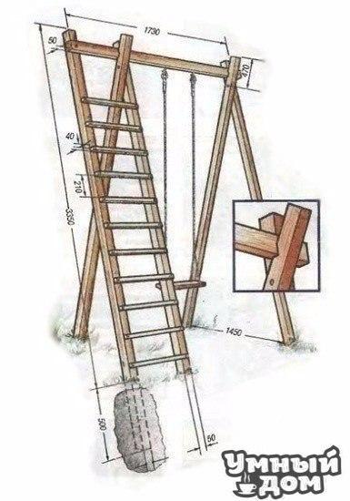 КАЧЕЛИ ДЛЯ ДЕТЕЙ НА ДАЧНОМ УЧАСТКЕ Их высота — 3.5 м. Подобная конструкция требует серьёзного укрепления опор — заглубите их в грунт на 0.5 – 0.7 м и залейте бетоном. Для несущих элементов качелей используйте брус (6 шт) размером не менее 5 х 5 см. В самом начале работ стяните болтами брусья-стойки по обеим сторонам качелей. У вас получатся две прочные опоры; соедините их сверху брусом. Гнёзда под соединения подготовьте заранее (см. рисунок). Боковая лестница вполне может служить не только для…