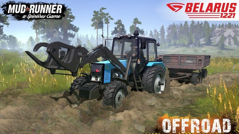 Spintires MudRunner - MTZ 1221 Tractor On Off-road in Forest