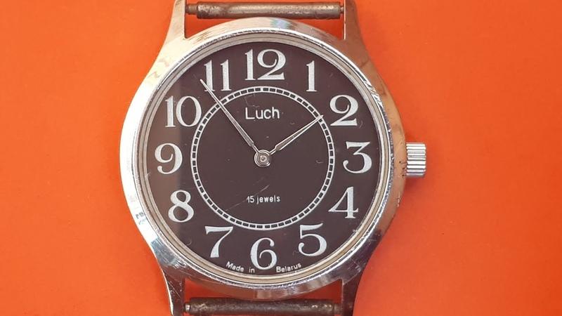 Luch 15 jewels made in belarus белый корпус черный циферблат