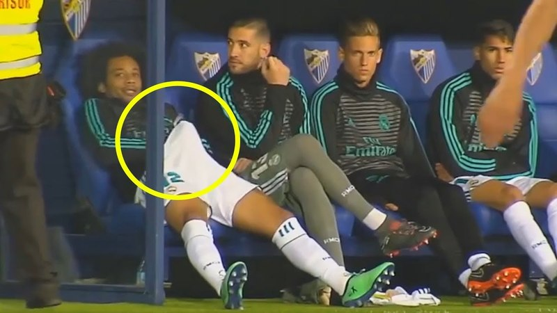 What do Marcelo on the Bench 🤣 Malaga vs Real Madrid