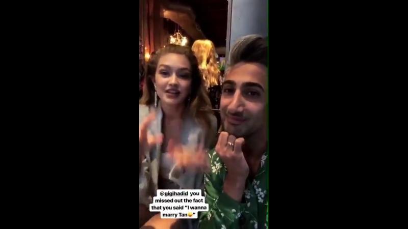 Gigi and Tan via Instagram Stories.
