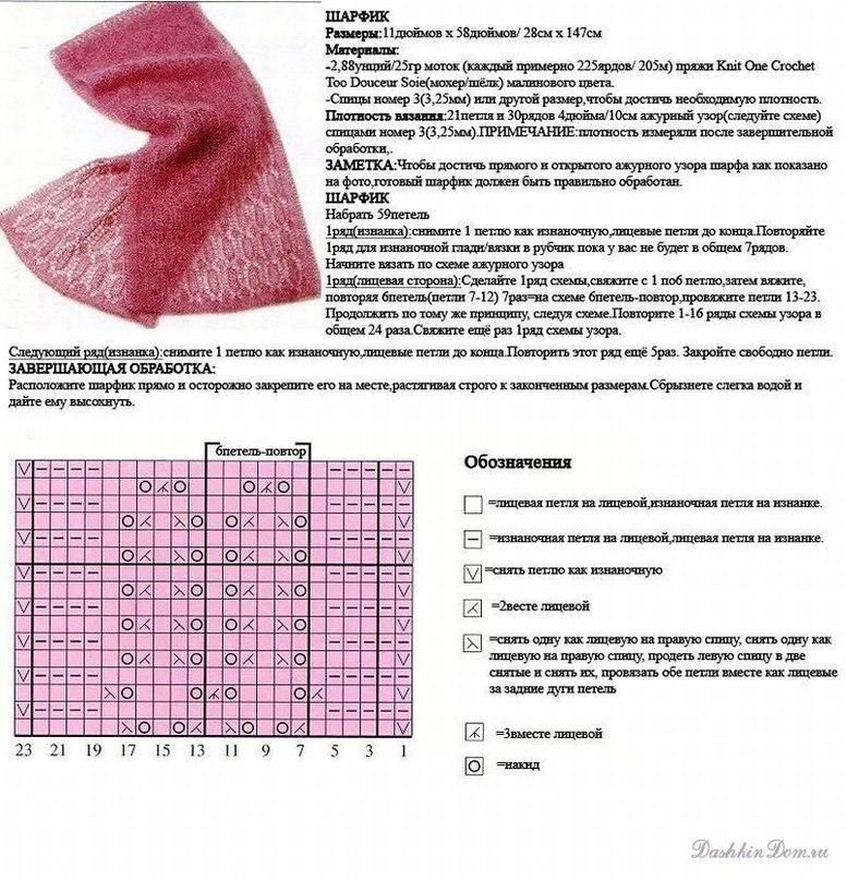 Вяжем ажурные шарф спицами