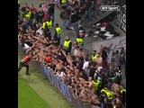 Frankfurt fans pulled down a advertising board after going through to semi final in Europa League since 1980.mp4
