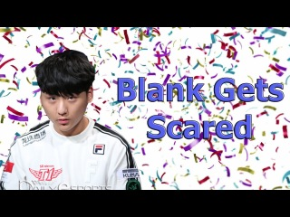 SKT Blank gets scared by confetti