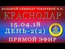 15.04.18. Токарева Н.П. Большой Семинар. Краснодар. День-2. Прямой Эфир.