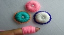 Hand Embroidery making button flower with wool yarn