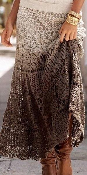 Стильная вязаная юбка (3 фото) - картинка