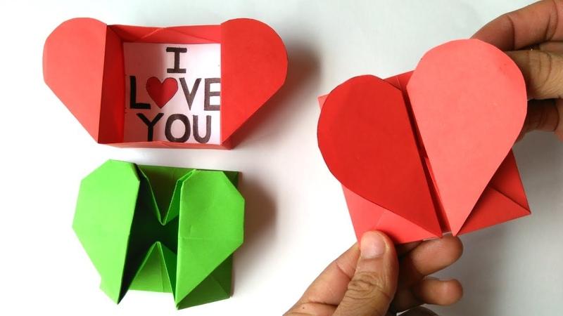 Origami Caja de corazón y sobre - Origami Heart Box Envelope