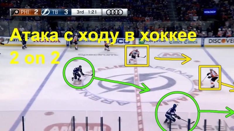 Атака с ходу в хоккее 2 on 2. (Скрест со сбросом, обманный показ броска) Развиваем игровое мышление