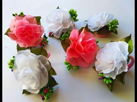 МК Резинки с цветами из атласной ленты Канзаши Цветы из лент