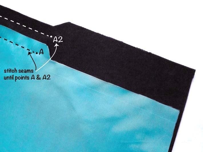 Обработка разрезов в юбке на подкладке