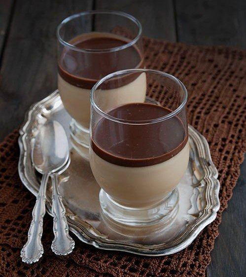 Кофейная панна-котта с шоколадным соусом