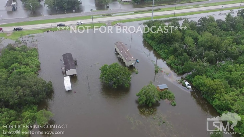 7 13 2019 Myrtle Grove La Levee with two large gaps many homes flooded levee damage Hwy 26 drone