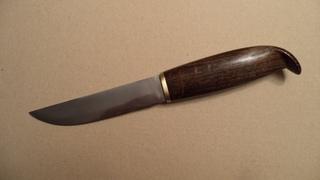 Финский нож из мехпилы. Рукоять с грибком - моренный дуб. puukko Hand Made