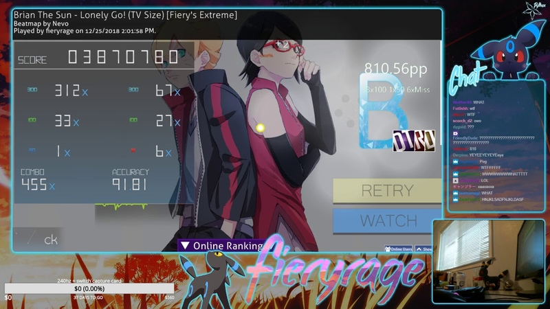 Osu! | fieryrage | Brian The Sun - Lonely Go! (TV Size) [Fiery's Extreme] DTHRHD 91.81% 820pp