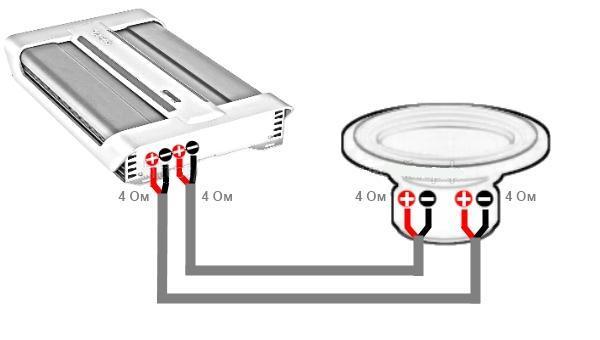 подключения 2 схема катушки сабвуфера