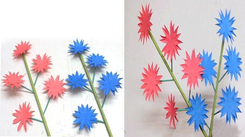 How to Make Beautiful Stick Paper Flower DIY Handcraft stick flowers Deshi Art Craft