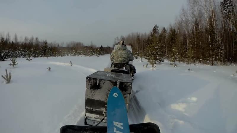 В зимовье с ночевкой на мототолкаче Ураган Сибирь 18 л с