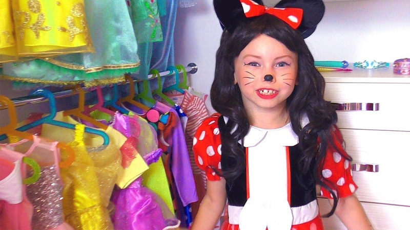 Alice Pretend Minnie Mouse Plays with Princess Dresses