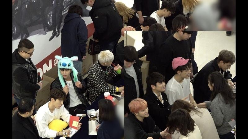 영등포 타임스퀘어 팬싸인중인 아이콘 (iKON) 멤버들[4K]@190112 (소니AX700촬영)