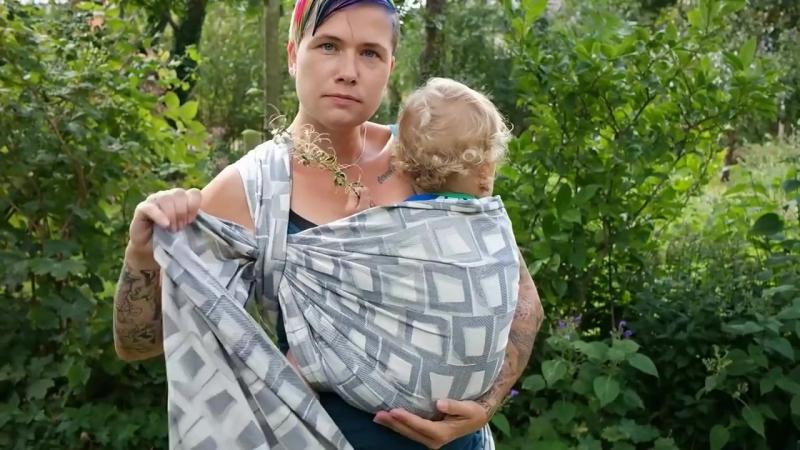Намотка Попинс на полубоку, размер слинга-шарфа 4 (3,7м)