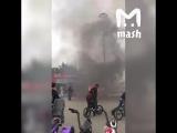 Это Сочи, горит Олимпийский парк. Жертв и пострадавших нет, пожарные мчатся на тушение.