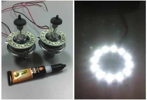 Светодиодные кольца в фары 2 шт. Внешний диаметр: 120мм/100мм/80мм/60мм/40мм.