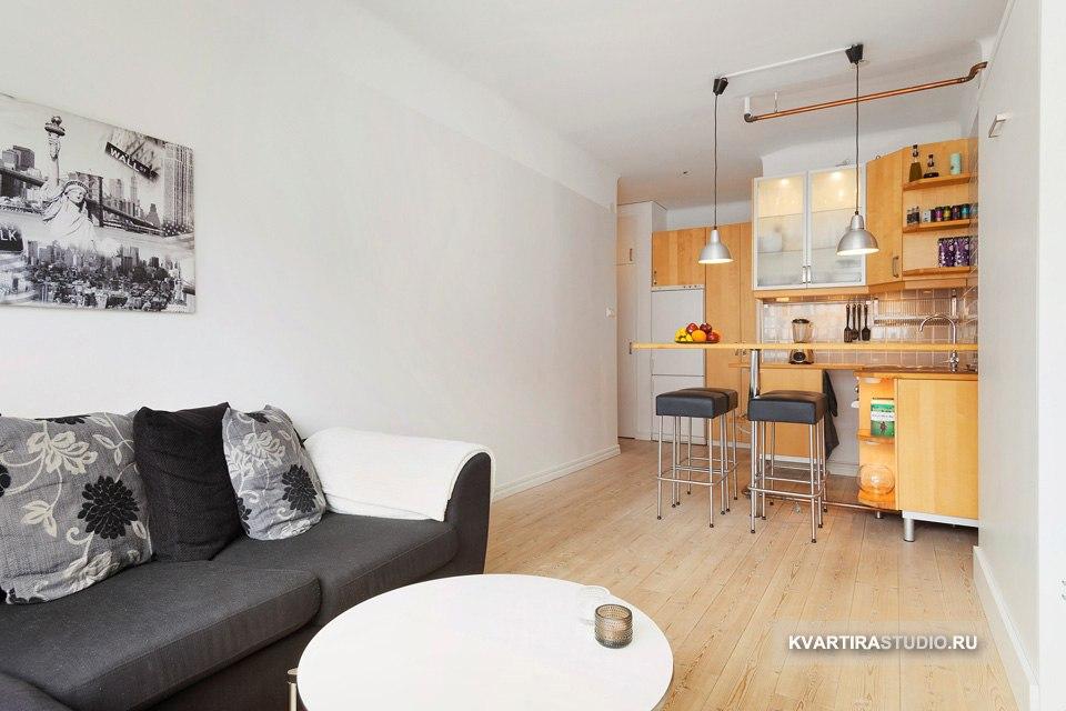 Студия 27 м с вертикальной откидной кроватью в Стокгольме / Швеция - http://kvartirastudio.